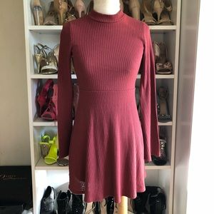 Brown red ribbed skater dress bell sleeves